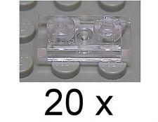 Lego - 20 x plancha Basic 1x2 transparente clara/trans claro/mercancía nueva 3023