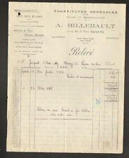 """NEVERS (58) ACCESSOIRES pour CYCLES & MOTOCYCLETTES """"A. BILLEBAULT"""" en 1934"""
