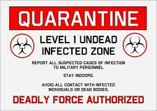 GOTH HORROR MILITARE quarantena Zombie TIN Metallo Cartello Di Avvertimento PLACCA 29cmx20cm