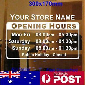 OPENING TRADING HOURS sticker shop sign custom text Vinyl sticker 30x17cm