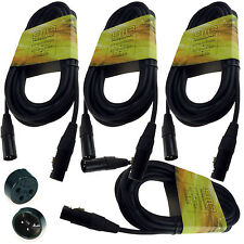 New 4 Pack 15' Feet ft Xlr Microphone Mic Cables 18 gauge wire Free Usa Shipping