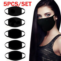5pcs Mouth Face Muffle, Black Fashion Washable, Reusable, Breathable,Comfortable