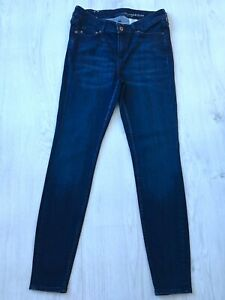 H&M LADIES BLUE STRETCH SKINNY SHAPING JEANS SIZE 14 W32 L28 WOMENS
