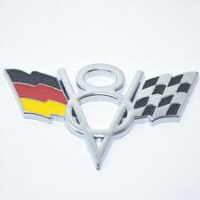 V8 Germany DE Flag Chrome Metal Front Grille Grill Emblem Badge For Audi Porsche