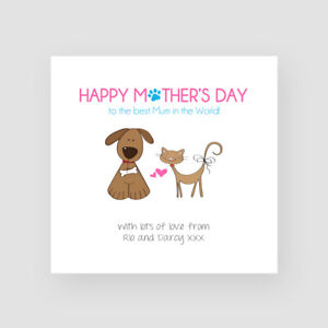 Personalised Handmade Happy Mother's Day Card From DOG / CAT / BOTH PETS Cute