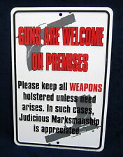 GUNS are WELCOME - *US MADE*  Embossed Metal Tin Sign - Man Cave Garage Bar Shop