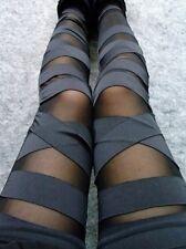 Neu Damen Leggings Bandage Optik schwarz Leggins Legging Jeggings Hose Röhre