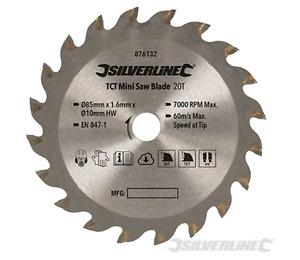 TCT Wood Cutting Mini Circular Saw Blade Titan 85mm Diameter 10mm Bore 20T