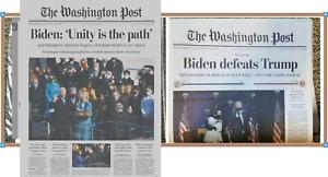 Washington Post Biden Inaugurated & Biden Wins Newspapers 1/21/2021 & 11/8/2020