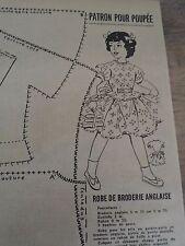 """ANCIEN PATRON POUR LA POUPEE """" MIREILLE """" ROBE BRODERIE ANGLAISE 16 JUIN 1955"""