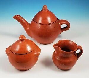 Early Jugtown Pottery Orange Glaze Redware Teapot Covered Sugar Bowl Creamer Set