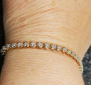 18CT YELLOW GOLD 1.0CT DIAMOND TENNIS BRACELET 8.99g 18CARAT SAFEGUARD VALUATION