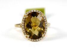 Oval Smokey Brown Topaz & Diamond Solitaire Ring 14k Yellow Gold 5.12Ct