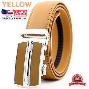 Men's Leather Dress Belt Adjustable Automatic Buckle Ratchet Belt