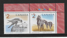2005 CANADA - HORSE AND FALCON - CORNER PAIR - MINT AND NEVER HINGED.