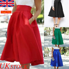 UK Womens Skater Skirt Ladies High Waist Midi Dress Sundress Party Summer Casual