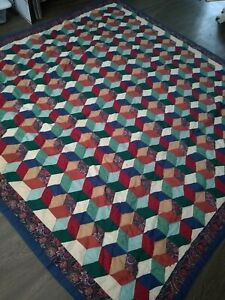 """FULL SIZE TUMBLING BLOCKS QUILT PRIMARY COLORS 84 X 85"""" RED BLUE GREEN"""