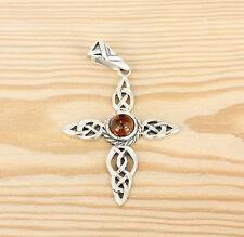 Anhänger  Silber  Bernstein - Celtic Knot Cross -  Keltische  Knoten Kreuz
