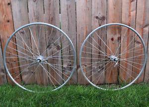 Vintage ARAYA 27 x 1 Clincher Road Bike Wheelset, Rims, SR Sakae 36 Hole Hubs