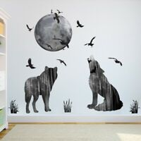 Abstract Howling Wolf & Moon & Birds Wall Sticker Living Room Decal Home Decor