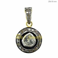 Silver Vintage Style Round Pendant Jewelry 14k Gold Rose Cut Diamond Sterling