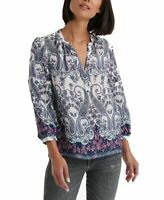 Lucky Brand Women's Blouse Purple Size Small S Split Neck Paisley Print $89 #142