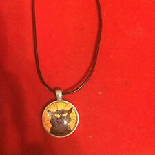 CHAT NOIR Black Cat Small Round Pendant Necklace on Black Leather Cord