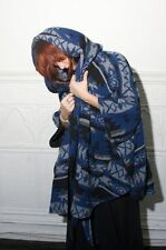 Lindsey Thornburg Wool Blanket Cloak Poncho Coat Jacket Black Blue Grey OS