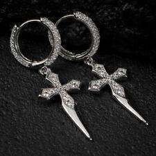 Earring 14k White Gold Plated Silver 1.12ct Sim Diamond Men's Dangle Cross Hoop