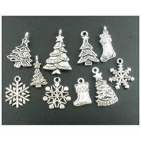 10Pcs Tibetan Silver Christmas Charms Pendants Mixed Gift DIY