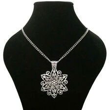 Large Abstract Metal Filigree Flower Pendant on Long Chain Necklace Lagenlook
