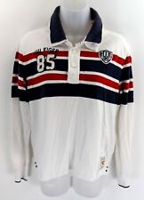 TOMMY HILFIGER Womens Long Sleeve Rugby Polo Shirt 14 White Red Blue Cotton