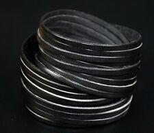 S59 COOL Double Wraps Multi 10-Band Leather Bracelet Wristband Snap Cuff BLACK