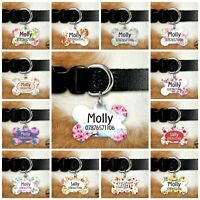Personalised Dog Tag - Dog ID Tag - Bone Tag - Flowers Collection