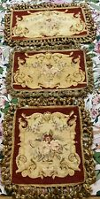 3 ANTIQUE 19th C AUBUSSON FRENCH HAND WOVEN TAPESTRY CUSHIONS