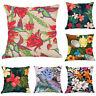Tropical Flowers Birds Cotton Linen Waist Cushion Cover Pillow Case Home Decor