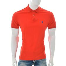 Ralph Lauren Mens 2-Button Custom Fit Polo T-Shirt Short Sleeve size L Large Red