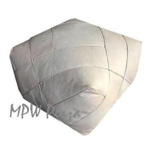 MPW Plaza ZigZag Pouf, Natural, Moroccan Leather Ottoman (Un-Stuffed)
