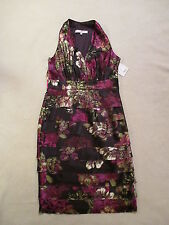 NWOT Evan Picone Satiny SemiFormal Holiday Party Dress sz 8 Purple Tiered Floral