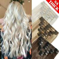 BLONDE Human Hair Extensions 200g Thick Clip In Remy Full Head DOUBLE WEFT Wemen