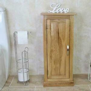 Oak Bathroom Furniture Small Vanity Cabinet | Cupboard with Shelving Storage