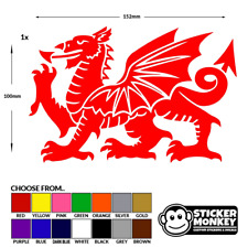Welsh Dragon CYMRU RED Vinyl Car Window Bike Bumper Decal / Sticker / Graphic