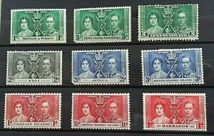 BRITISH COLONIES,MISC SELECTION -9 STAMPS-- GEO VI-- CORONATION-MINT/HINGED  4--