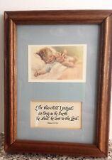 For This Child I Prayed ~Framed 5x7 Art Baby Toddler Nursery Scripture Vintage
