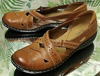 CLARKS BROWN LEATHER LOAFERS SLIP ONS MARY JANES DRESS SHOES US WOMENS SZ 8.5 N