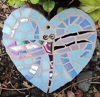 Unique Handmade Iridescent Mosaic Dragonfly on Heart Shape