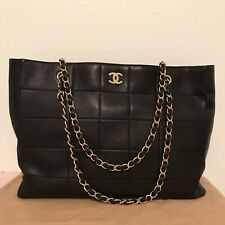 Authentic Chanel Vintage Chocolate Large Grand Shopping Tote Leather Bag black