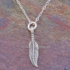 "925 Sterling Silver FEATHER 3d charm South Western Pendant 18"" Necklace small"