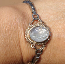 ANTIQUE GORGEOUS 10K WHITE GF & STERLING SHELL CAMEO BANGLE BRACELET