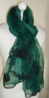 Dark Green Black Floral Embroidered Long Scarf Wrap Shawl Stole Lined Ideal Gift